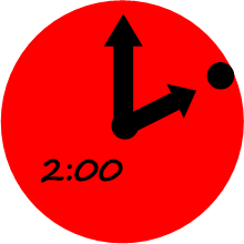 Red clock with hands pointing to 2:00