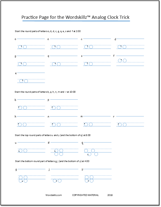 Screen shot of PDF practice sheet for how to write neatly using the Wordskillz Analog Clock Trick