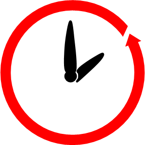 Diagram of 2 black hands pointing to 2:00 which is show with a thick red circle with an arrow showing where to begin and end a letter