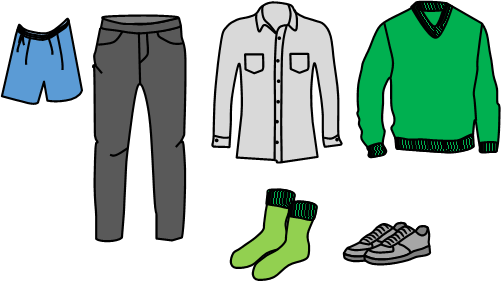 A range of clothing to illustrate some things get put on first just as some word skills need to be learned first