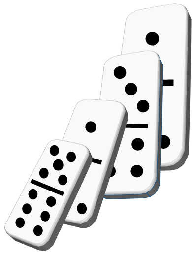 an illustration of dominoes standing, each one 50% larger than the next to illustrate how skills can be built quickly