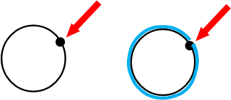 2 images of clocks with a red arrow pointing to 2 oclock. The second image shows a blue circle drawn around the clock